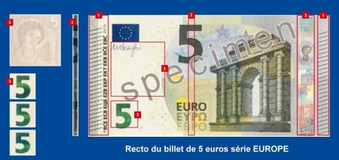 Comment contrôler le billets de 5 euros de la nouvelle série EUROPE